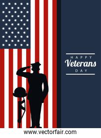 happy veterans day lettering in poster with officer military and helmet in rifle