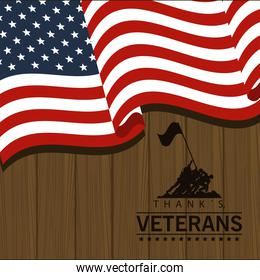 happy veterans day poster with soldiers and flag wooden background