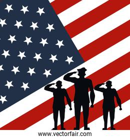 officers military silhouettes in usa flag background