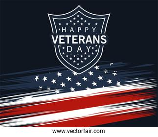 happy veterans day lettering in poster with shield in flag