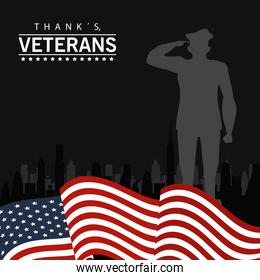 happy veterans day lettering in poster with officer military and flag