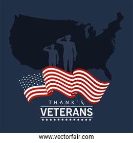 happy veterans day lettering in poster with officers military and map usa