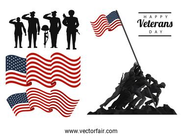 happy veterans day lettering in poster with soldiers with flag icons