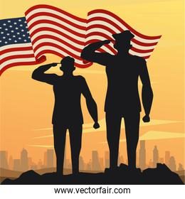 officers military silhouettes with usa flag sunset scene