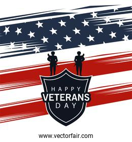 happy veterans day lettering in poster with shield and soldiers in usa flag background