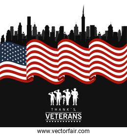 happy veterans day lettering in poster with soldiers silhouettes in usa flag