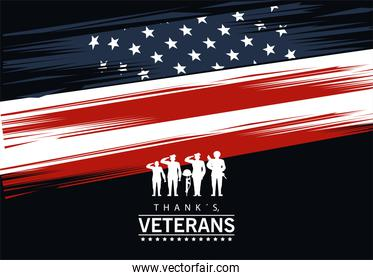 happy veterans day lettering in poster with silhouette soldiers and flag usa