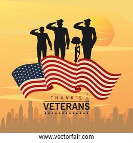 happy veterans day lettering in poster with officers military and cityscape