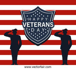 happy veterans day lettering in poster with officers military and shield