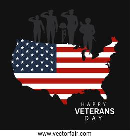 happy veterans day lettering in card with officers military and map usa