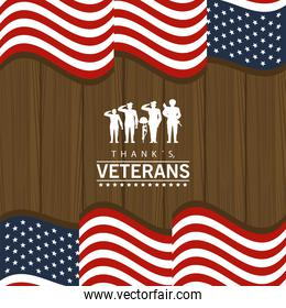 happy veterans day lettering in poster with soldiers and flag wooden background