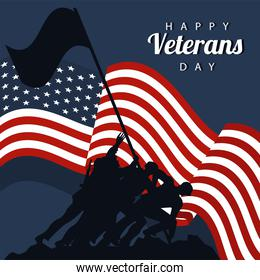 happy veterans day lettering in poster with soldier lifting flag in pole silhouettes