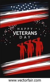 happy veterans day lettering in poster with officers military