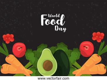 world food day cartel with vegetables in black background