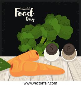 world food day cartel with vegetables in wooden table