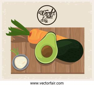 world food day poster with vegetables in wooden board