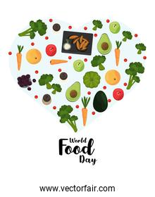 world food day poster with vegetables in heart shape
