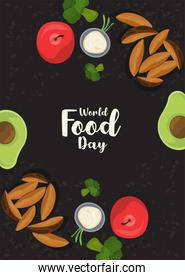 world food day poster with vegetables in black background