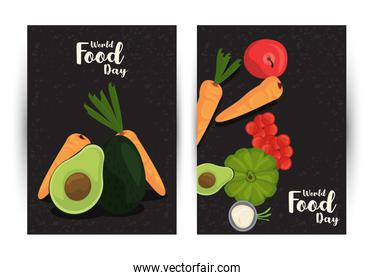 world food day poster with vegetables in black and white background