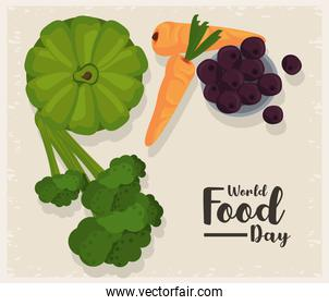 world food day poster with vegetables in beige background