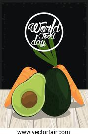 world food day poster with vegetables in wooden table