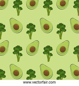 world food day poster with avocados and broccoli pattern