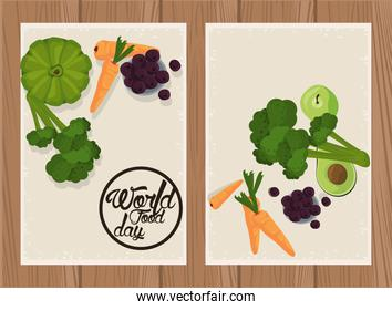world food day poster with vegetables in beige and wooden background