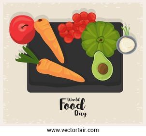 world food day poster with vegetables in board beige background