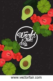 world food day circular frame with vegetables in black background