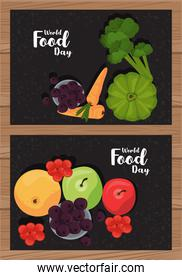 world food day poster with vegetables in black and wooden background
