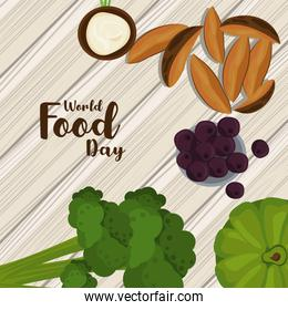 world food day poster with vegetables in wooden background