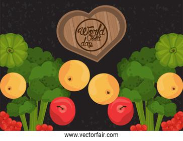 world food day poster with vegetables and wooden heart in black background