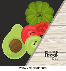 world food day banner with vegetables in black and wooden background