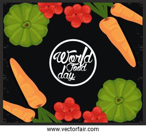 world food day banner with vegetables in black background