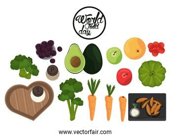 world food day poster with vegetables in white background