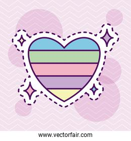 cute and colorful heart, patch style