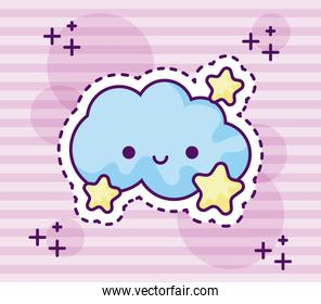 patch of cute cloud with stars