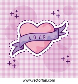 cute heart with ribbon, patch style