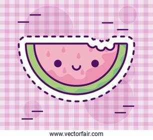 slice fresh and delicious watermelon kawaii style