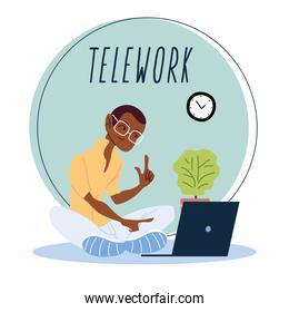 man working remotely from her home, telework