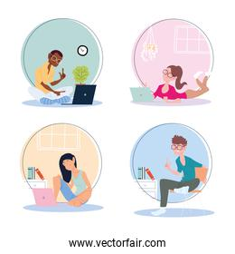 set of icons people working from home, telecommuting
