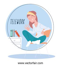 woman working remotely from her home, telework