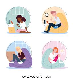 icon set of people working from home, telecommuting