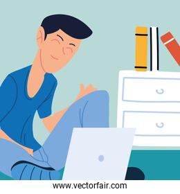man working remotely from her home