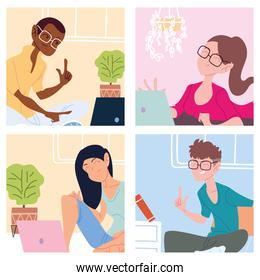 set of cards with people working from home, telecommuting