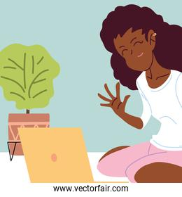 woman working remotely from her home