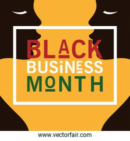 Black business month with afro women silhouette vector design