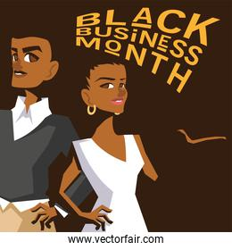 Black business month with afro woman and man cartoons vector design
