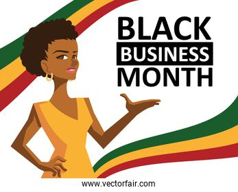 Black business month with afro woman cartoon vector design