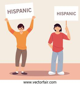 national hispanic heritage month with latin men cartoons with banners vector design